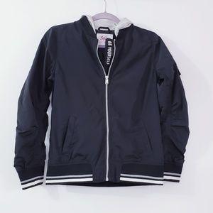 Justice Hooded Bomber Black Jacket  Size 12/14
